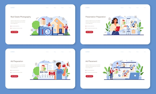 Real estate industry web banner or landing page set. property selling advertising, apartment rent advert. realtor house presentation and photography. flat vector illustration