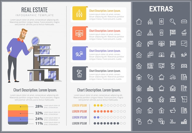 Real estate infographic template, elements, icons.