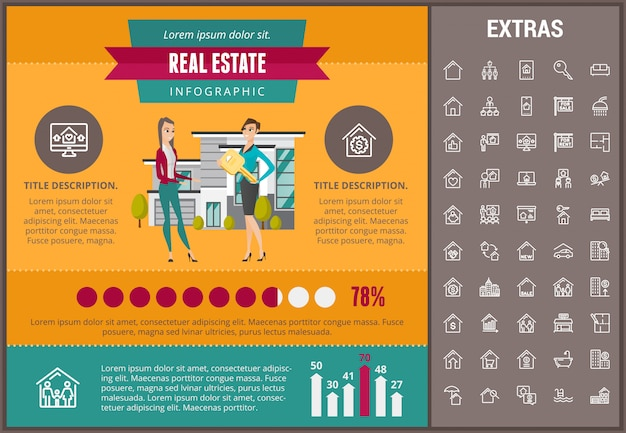 Real estate infographic template, elements, icons