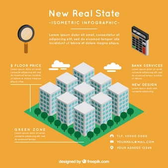 Real estate infographic with buildings