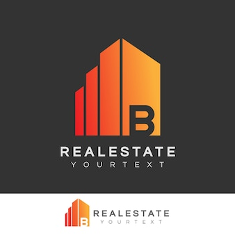 Real estate initial letter b logo design