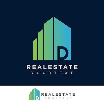 Real estate initial letter d logo design