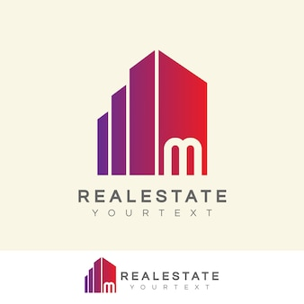 Real estate initial letter m logo design