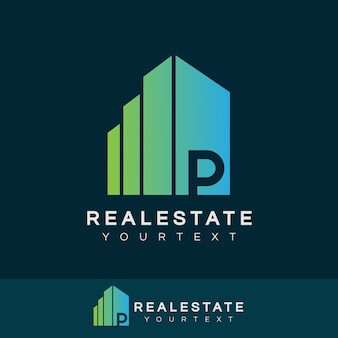 Real estate initial letter p logo design