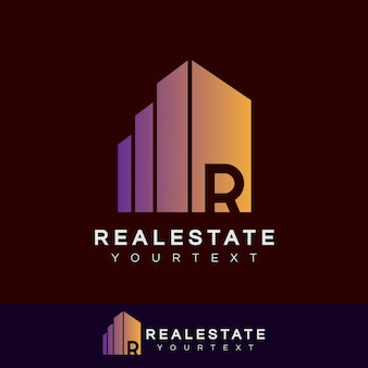 Real estate initial letter r logo design