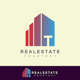Real estate initial letter t logo design
