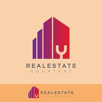 Real estate initial letter y logo design