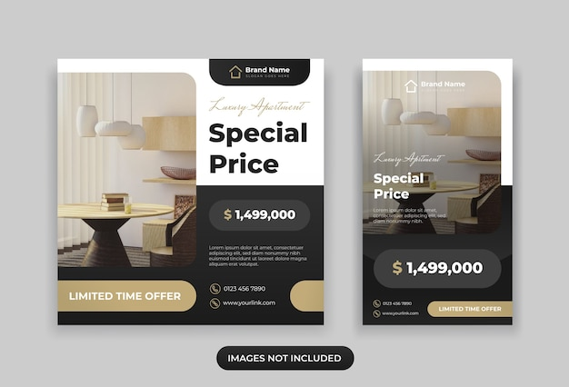 Real estate instagram post and story design template