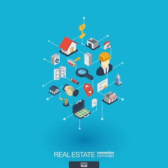 Real estate integrated  web icons. digital network isometric interact concept. connected graphic  dot and line system. abstract background for apartment rent, property sale.  infograph