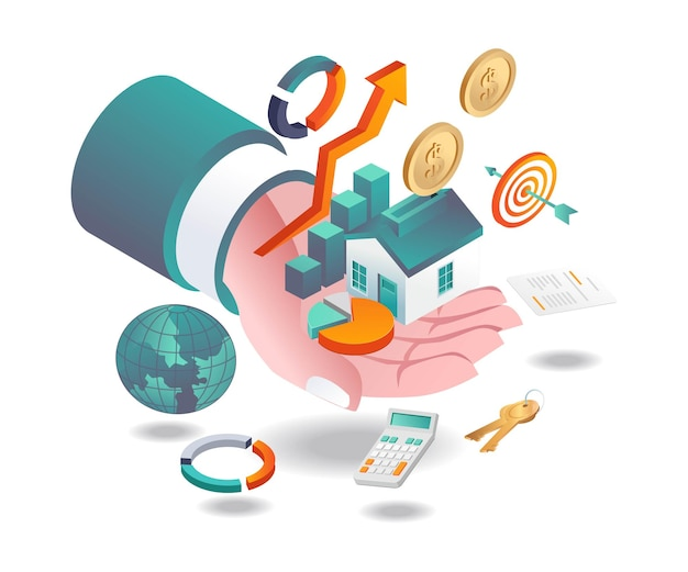 부동산 투자 및 손에 파이 차트