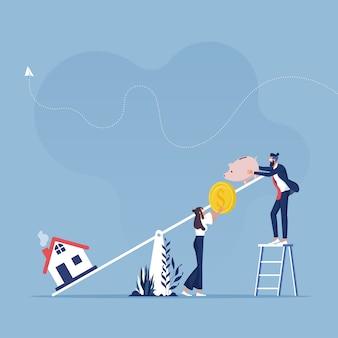 시소, 저금통 및 집 아이콘이있는 부동산 투자 비용 및 예산 소비