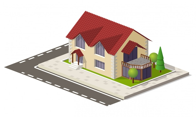 Real estate isometric house on green ground