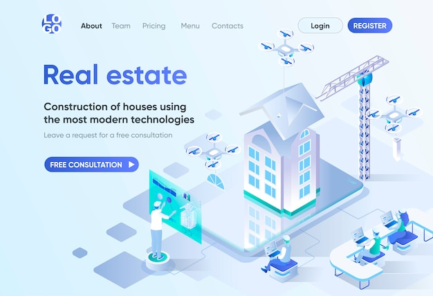 Real estate isometric landing page. modern construction technology, design and engineering. investment in real estate template for cms and website builder. isometry scene with people characters.