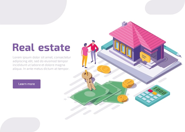 Real estate isometric landing page