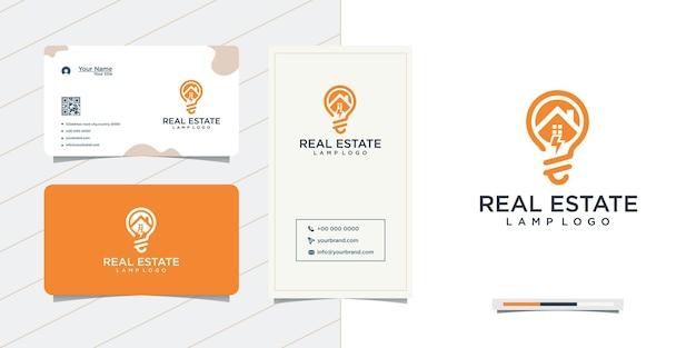 Дизайн логотипа лампы недвижимости и визитная карточка
