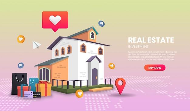 不動産のランディングページのコンセプト、オンライン注文追跡、宅配、オフィス。3dイラストレーション。