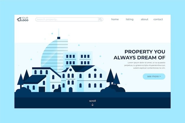 Real estate landing page template design