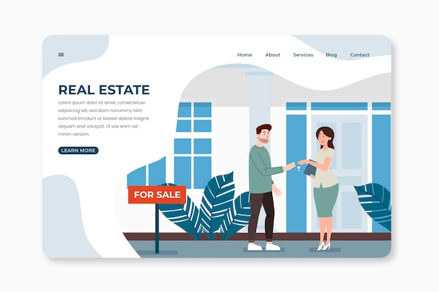 Real estate landing page template with characters