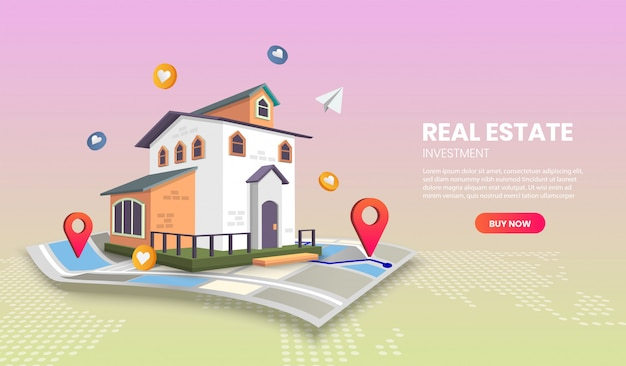 Real estate landing page templates app page.for web banner, infographics, hero images. hero image for website.