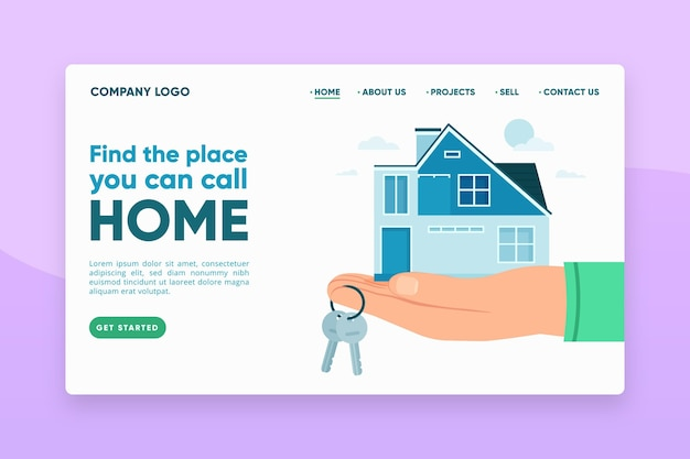 Real estate landing page with illustrations