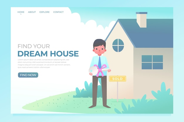 Real estate landing page with man