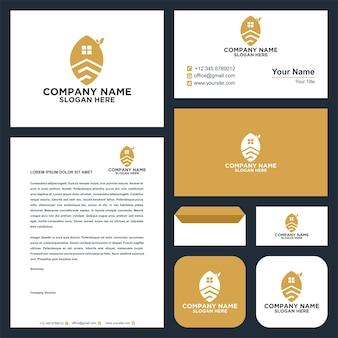 Real estate leaf logo and business card