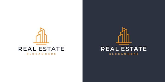 Real estate line art logo design