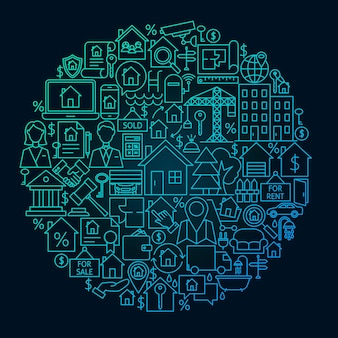Real estate line circle concept. vector illustration of house and building outline objects.