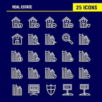 Real estate line icon pack