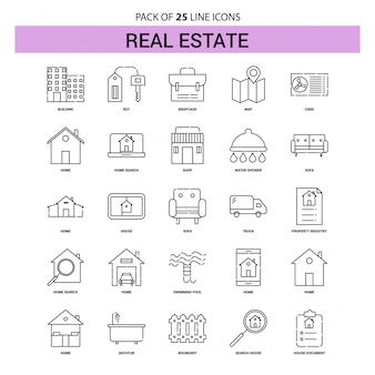 Real estate line icon set - 25 dashed outline style