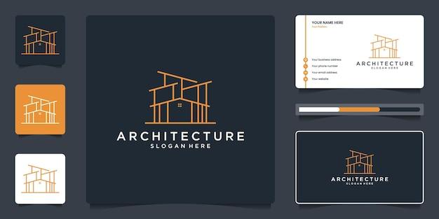 Логотип линии недвижимости и шаблон визитной карточки. архитектура здания с эскизом структуры.