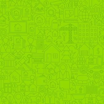 Real estate line tile pattern. vector illustration of outline seamless background. house building items.