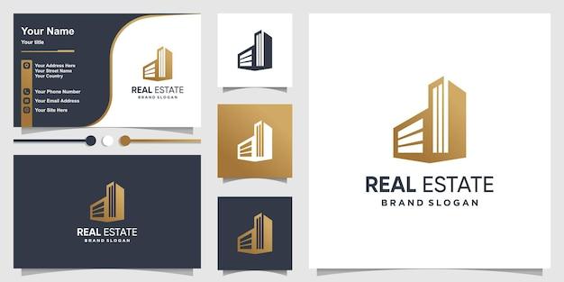 창의적인 간단한 개념 부동산 로고와 busnies 카드 디자인 premium 벡터