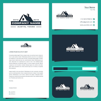 Real estate logo and business card premium vector