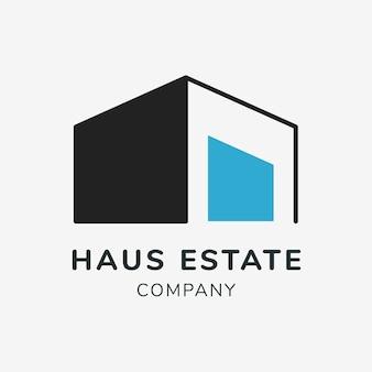 Логотип недвижимости, бизнес-шаблон для брендинга дизайна вектора, текст компании haus estate