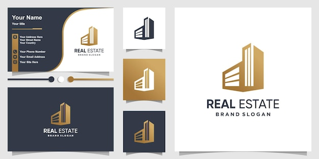 Real estate logo and busniess card design with creative simple concept premium vector