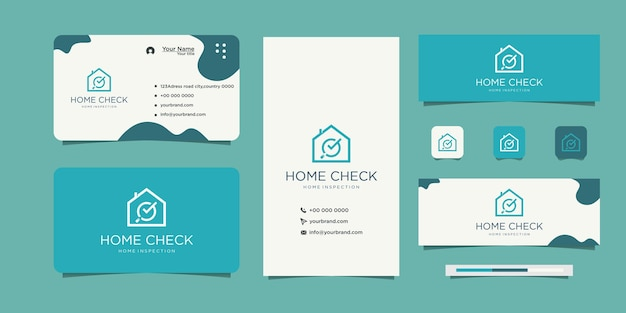 Real estate logo check mark and business card
