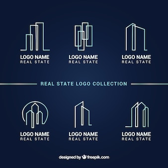 Real estate logo collection on a dark blue background