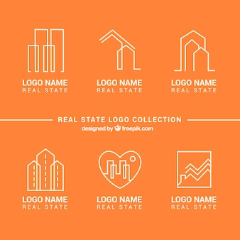 Real estate logo collection on an orange background