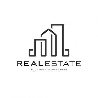 Концепция логотипа недвижимости с линией арт-стиля.
