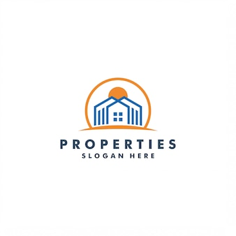 Real estate logo design, building  illustration