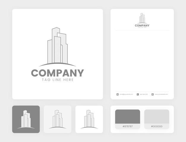 不動産のロゴデザインアイデンティティテンプレート付きの建物のロゴ