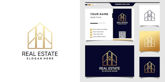 Real estate logo design inspiration with line art style and business card design premium vector