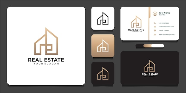 Real estate logo design in line art  style and business card