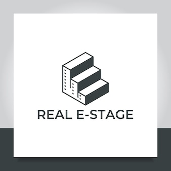 Real estate logo design stair stage city
