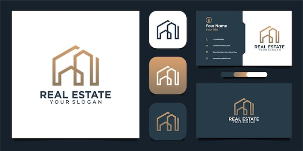 Real estate logo design template with line and business card