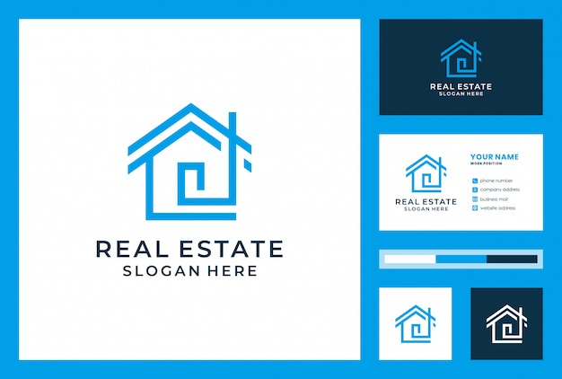 Real estate logo design with business card