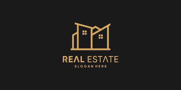 Real estate logo design with creative style premium vector