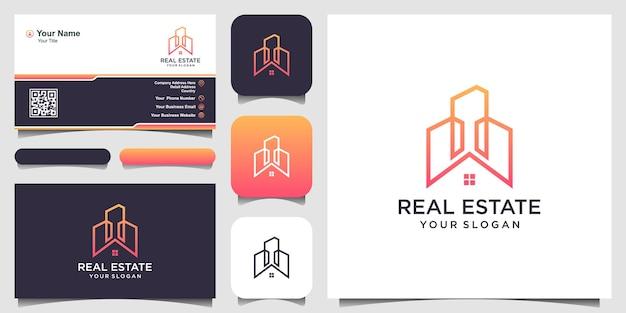 Дизайн логотипа недвижимости с линиями в стиле арт, построением абстрактного дизайна логотипа и дизайна визитных карточек