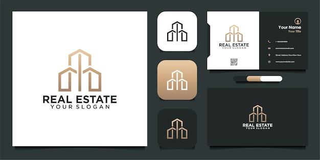 Real estate logo design with line and business card